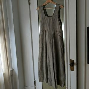 Flax Sage Linen Maxi Dress with Pockets